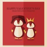 Κάρτα ημέρας των διανυσματικών βαλεντίνων με την απεικόνιση δύο penguins στο πλαίσιο κόκκινων τετραγώνων Στοκ Εικόνες