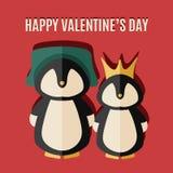Κάρτα ημέρας των διανυσματικών βαλεντίνων με την απεικόνιση δύο penguins στο καπέλο και την κορώνα Στοκ Εικόνα