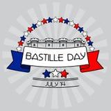 Κάρτα ημέρας Bastille Αστέρια, φρούριο Bastille, διανυσματική απεικόνιση