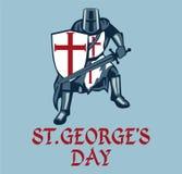 Κάρτα ημέρας StGeorge με τον ιππότη απεικόνιση αποθεμάτων