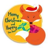Κάρτα διακοπών με την αλεπού Στοκ Εικόνες