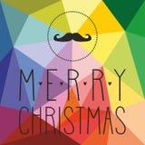 Κάρτα διακοπών με το mustache και συρμένες τις χέρι επιθυμίες Χαρούμενα Χριστούγεννας Στοκ Εικόνες