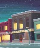 Κάρτα διακοπών Χριστουγέννων Πόλη στο χιονώδη καιρό Ευχετήρια κάρτα με τα σπίτια παραμυθιού Στοκ φωτογραφίες με δικαίωμα ελεύθερης χρήσης