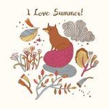 κάρτα ι καλοκαίρι αγάπης επίσης corel σύρετε το διάνυσμα απεικόνισης Ελεύθερη απεικόνιση δικαιώματος