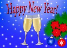 κάρτα καλή χρονιά Δύο ποτήρια της σαμπάνιας, WI δέντρων κλάδων ελεύθερη απεικόνιση δικαιώματος