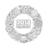 Κάρτα καλή χρονιά 2018 συγχαρητηρίων Στεφάνι που αποτελείται από τα εορταστικά στοιχεία Χριστουγέννων Χρωματίζοντας σελίδα για το Στοκ Φωτογραφίες