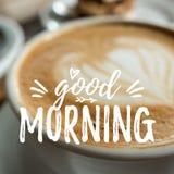 Κάρτα καλημέρας με τον καφέ στοκ εικόνες