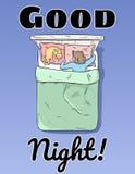 Κάρτα καληνύχτας Ύπνος κοριτσιών ειρηνικά στην αφίσα κρεβατιών της διανυσματική απεικόνιση