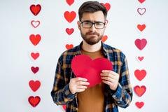 Κάρτα καρδιών εκμετάλλευσης τύπων Στοκ Εικόνες