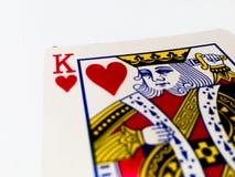 Κάρτα καρδιών βασιλιάδων με το άσπρο υπόβαθρο στοκ φωτογραφίες με δικαίωμα ελεύθερης χρήσης