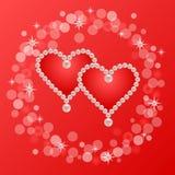 Κάρτα καρδιών μαργαριταριών Στοκ Φωτογραφία