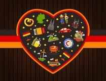 Κάρτα καρδιών ταξιδιού της Γερμανίας με τα διάσημα γερμανικά σύμβολα Στοκ φωτογραφία με δικαίωμα ελεύθερης χρήσης