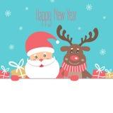 Κάρτα καλής χρονιάς με Άγιο Βασίλη και τον τάρανδο ελεύθερη απεικόνιση δικαιώματος