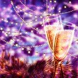 Κάρτα καλής χρονιάς με τα ποτήρια της σαμπάνιας Στοκ Φωτογραφίες