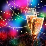 Κάρτα καλής χρονιάς με τα ποτήρια της σαμπάνιας Στοκ Φωτογραφία