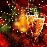 Κάρτα καλής χρονιάς με τα ποτήρια της σαμπάνιας Στοκ Εικόνες