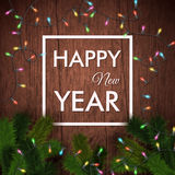 κάρτα καλή χρονιά Ξύλινο υπόβαθρο, ρεαλιστική γιρλάντα Στοκ εικόνα με δικαίωμα ελεύθερης χρήσης