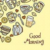 Κάρτα καλημέρας με τα φλυτζάνια τσαγιού doodle στο διαστιγμένο υπόβαθρο Απεικόνιση αποθεμάτων
