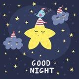 Κάρτα καληνύχτας με ένα χαριτωμένο αστέρι, τα σύννεφα και ένα πουλί Στοκ Εικόνα
