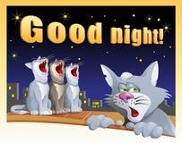 Κάρτα καληνύχτας με τις γάτες Στοκ φωτογραφία με δικαίωμα ελεύθερης χρήσης