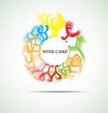 Κάρτα κρασιού με το αφηρημένο εστιατόριο καταλόγων επιλογής γυαλιού Στοκ Φωτογραφία