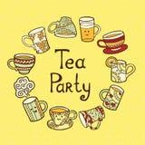 Κάρτα κόμματος τσαγιού με τα φλυτζάνια doodle Ελεύθερη απεικόνιση δικαιώματος
