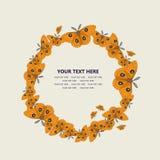 Κάρτα κύκλων πεταλούδων, διανυσματικό πλαίσιο Ελεύθερη απεικόνιση δικαιώματος