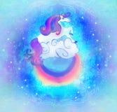 Κάρτα με ένα χαριτωμένο ουράνιο τόξο μονοκέρων στα σύννεφα διανυσματική απεικόνιση