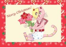 Κάρτα με λίγα γατάκι και Poinsettia Στοκ φωτογραφίες με δικαίωμα ελεύθερης χρήσης