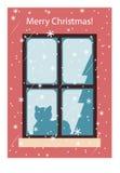 Κάρτα με μια γάτα στο παράθυρο, διάνυσμα Χριστούγεννα εύθυμα ελεύθερη απεικόνιση δικαιώματος