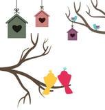Κάρτα με να τοποθετηθεί τα κιβώτια και τα πουλιά Στοκ Φωτογραφία