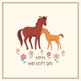 Κάρτα με τα άλογα διανυσματική απεικόνιση