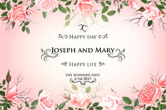 Κάρτα με τα λεπτά τριαντάφυλλα λουλουδιών Η γαμήλια πρόσκληση, σας ευχαριστεί, εκτός από τις κάρτες ημερομηνίας, επιλογές, ιπτάμε απεικόνιση αποθεμάτων