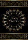 Κάρτα με τα ευτυχή Χριστούγεννα χαιρετισμών χρυσό snowflake Στοκ φωτογραφία με δικαίωμα ελεύθερης χρήσης