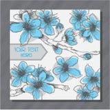 Κάρτα με τα ζωηρόχρωμα χέρι-σκιαγραφημένα λουλούδια κερασιών Στοκ Φωτογραφίες