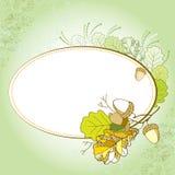 Κάρτα με τα διακοσμητικά δρύινα φύλλα και τα βελανίδια στο κατασκευασμένο υπόβαθρο Στοκ Φωτογραφίες