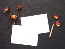 Κάρτα με τα ξηρά λουλούδια Στοκ εικόνα με δικαίωμα ελεύθερης χρήσης