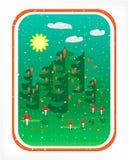 Κάρτα με τα ξύλα Στοκ εικόνα με δικαίωμα ελεύθερης χρήσης