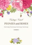 Κάρτα με τα λουλούδια κήπων Στοκ Φωτογραφία