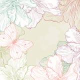 Κάρτα με τα λουλούδια πεταλούδων Στοκ φωτογραφίες με δικαίωμα ελεύθερης χρήσης