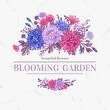 Κάρτα με τα λουλούδια Στοκ εικόνες με δικαίωμα ελεύθερης χρήσης