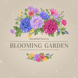 Κάρτα με τα λουλούδια Στοκ εικόνα με δικαίωμα ελεύθερης χρήσης