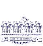 Κάρτα με τα περιγράμματα των καρδιών doodle Στοκ Φωτογραφία