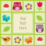 Κάρτα με τα πουλιά και τα λουλούδια Στοκ Εικόνες
