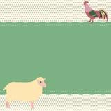 Κάρτα με τα πρόβατα και τον κόκκορα Στοκ φωτογραφία με δικαίωμα ελεύθερης χρήσης