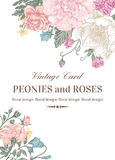 Κάρτα με τα τριαντάφυλλα και peonies Στοκ εικόνες με δικαίωμα ελεύθερης χρήσης