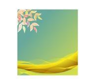 Κάρτα με τα φύλλα και τα κύματα διανυσματική απεικόνιση