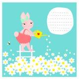 Κάρτα με τα χαριτωμένα λουλούδια ποτίσματος λαγουδάκι Στοκ Φωτογραφίες