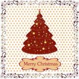 Κάρτα με τα Χριστούγεννα Πλαίσιο Χριστουγέννων, διακοσμητικό δέντρο Στοκ φωτογραφίες με δικαίωμα ελεύθερης χρήσης