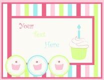 Κάρτα με τα cupcakes Στοκ φωτογραφία με δικαίωμα ελεύθερης χρήσης
